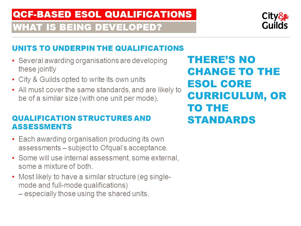 ACCREDITATION Because Ofqual regards ESOL as a 'high risk' area, all proposed new ESOL qualifications must go through a full review process before they can be accredited.