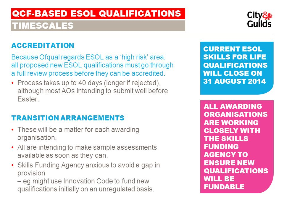 WHAT ABOUT SITUATIONS WHERE A 'WHOLE' ESOL QUALIFICATIONS JUST ISN'T SUITABLE OR ACHIEVABLE.