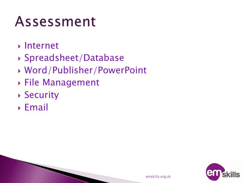  Internet  Spreadsheet/Database  Word/Publisher/PowerPoint  File Management  Security  Email emskills.org.uk