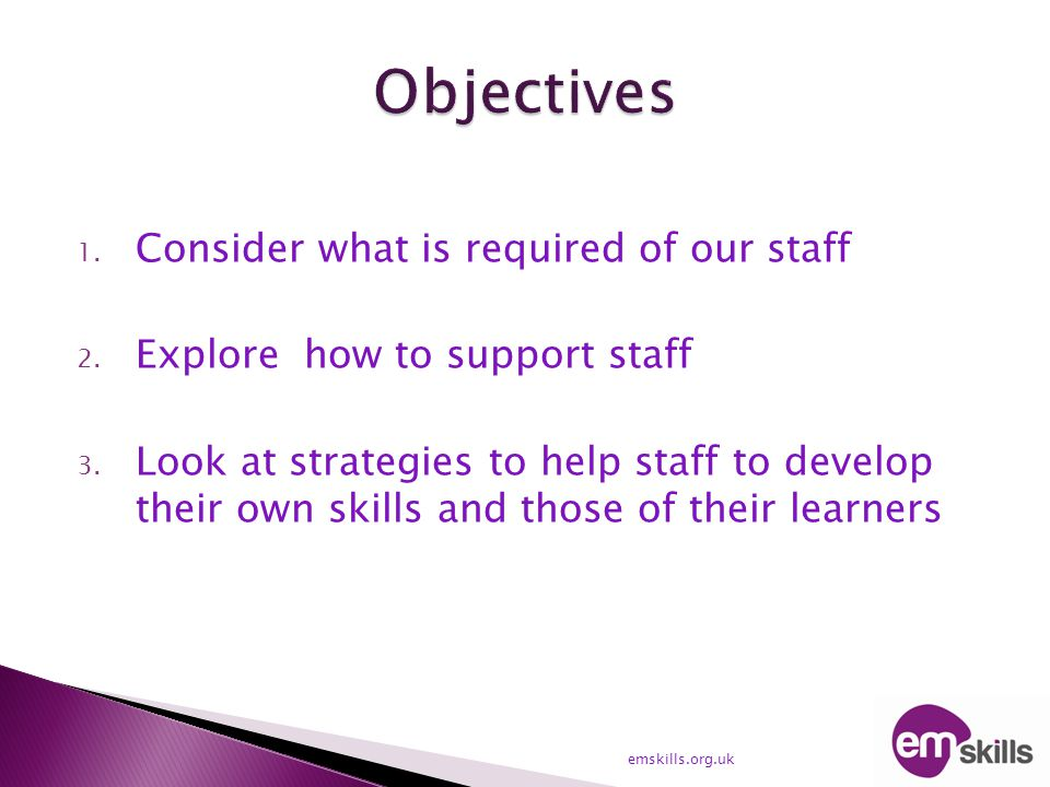 1. Consider what is required of our staff 2. Explore how to support staff 3. Look at strategies to help staff to develop their own skills and those of