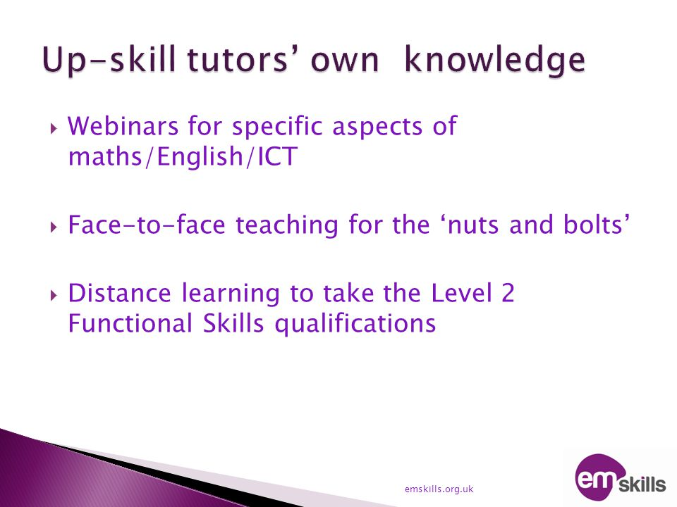  Webinars for specific aspects of maths/English/ICT  Face-to-face teaching for the 'nuts and bolts'  Distance learning to take the Level 2 Function