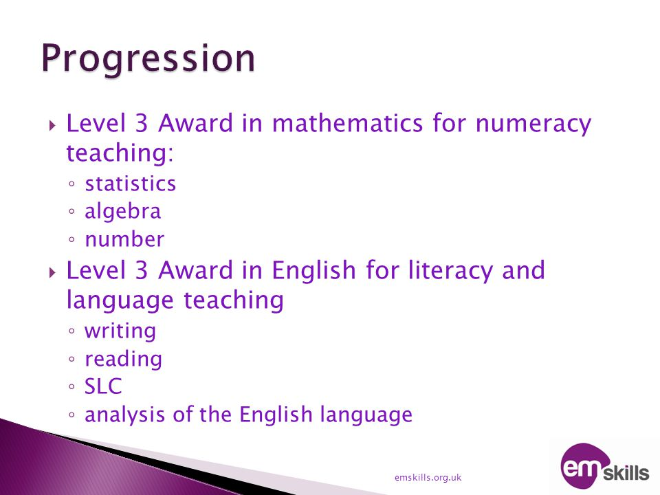  Level 3 Award in mathematics for numeracy teaching: ◦ statistics ◦ algebra ◦ number  Level 3 Award in English for literacy and language teaching ◦