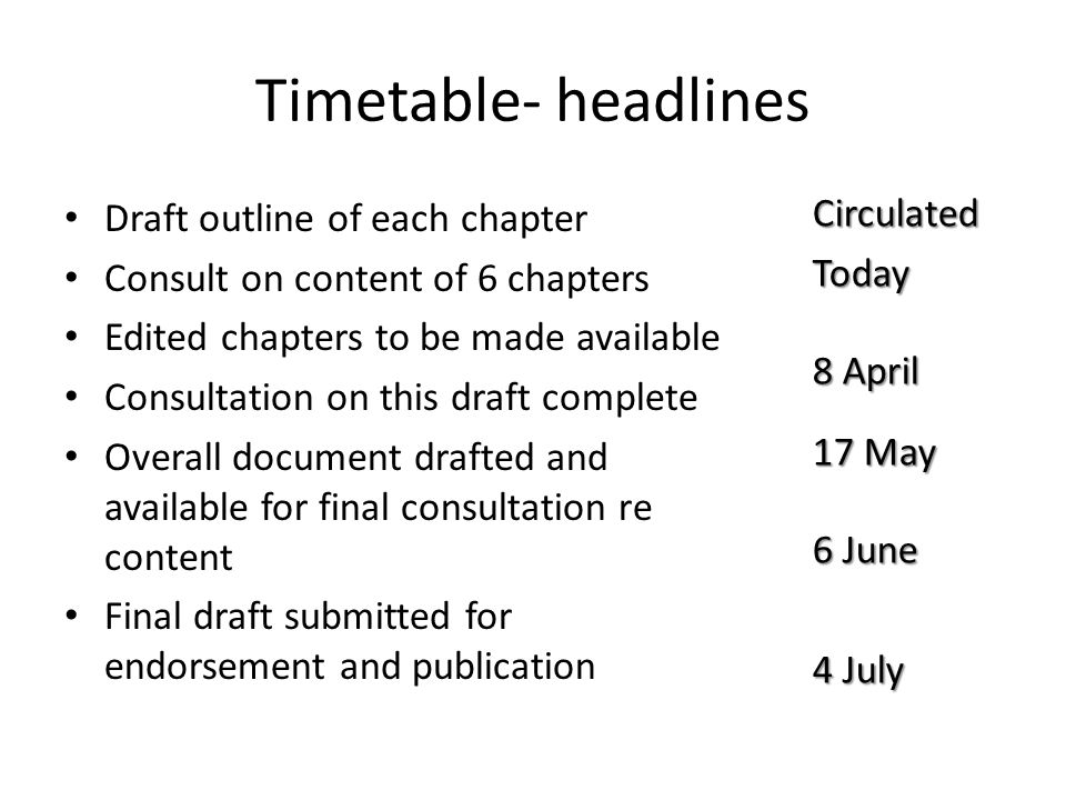 Timetable- headlines Draft outline of each chapter Consult on content of 6 chapters Edited chapters to be made available Consultation on this draft co