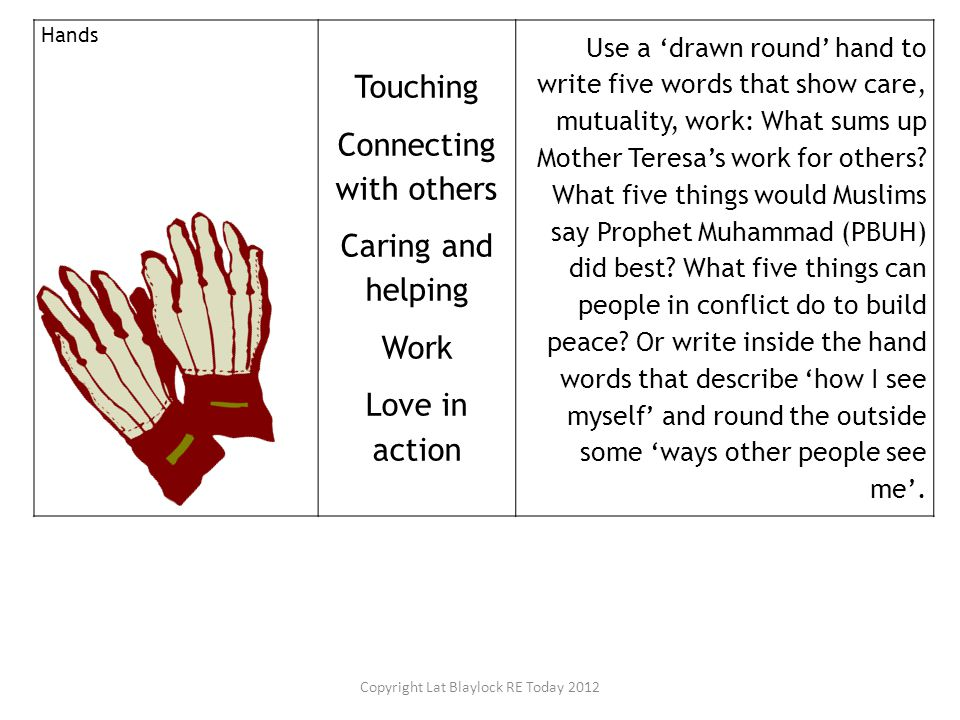 Hands Touching Connecting with others Caring and helping Work Love in action Use a 'drawn round' hand to write five words that show care, mutuality, w