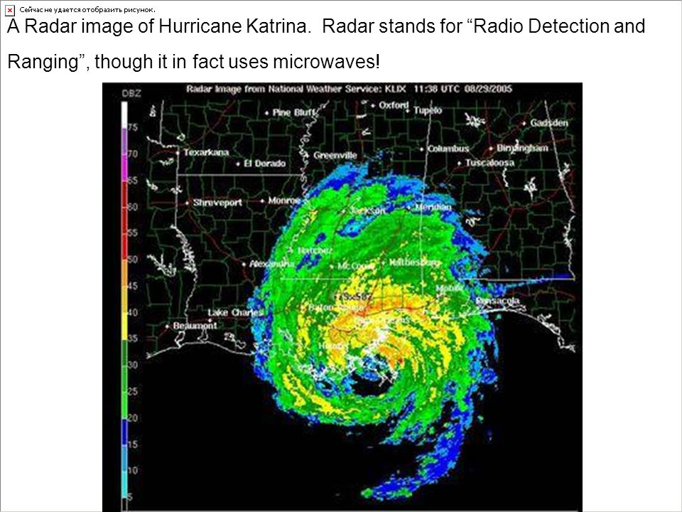 "A Radar image of Hurricane Katrina. Radar stands for ""Radio Detection and Ranging"", though it in fact uses microwaves!"