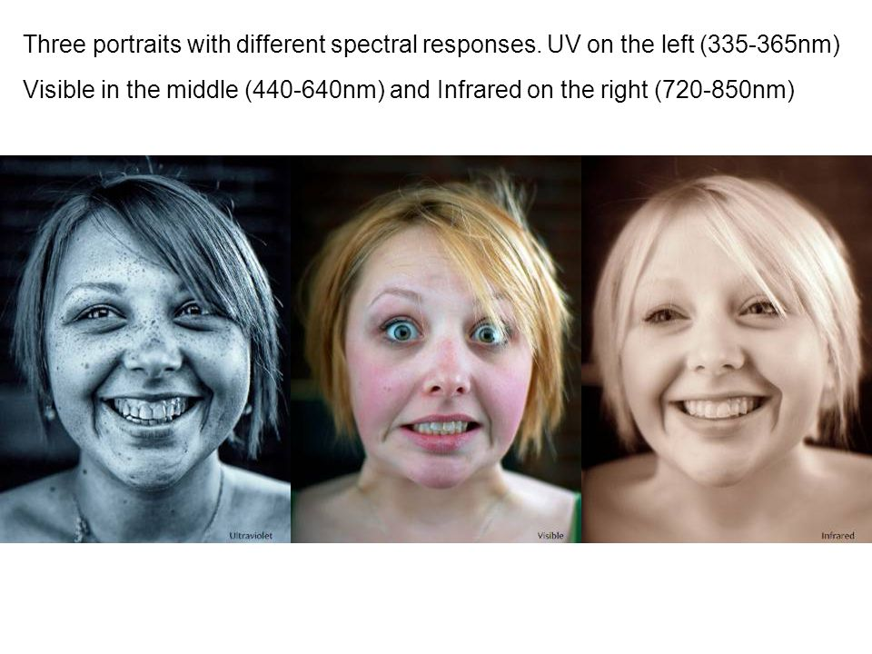 Three portraits with different spectral responses. UV on the left (335-365nm) Visible in the middle (440-640nm) and Infrared on the right (720-850nm)
