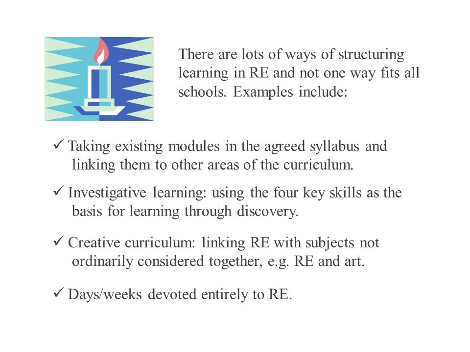 Taking existing modules in the agreed syllabus and linking them to other areas of the curriculum.