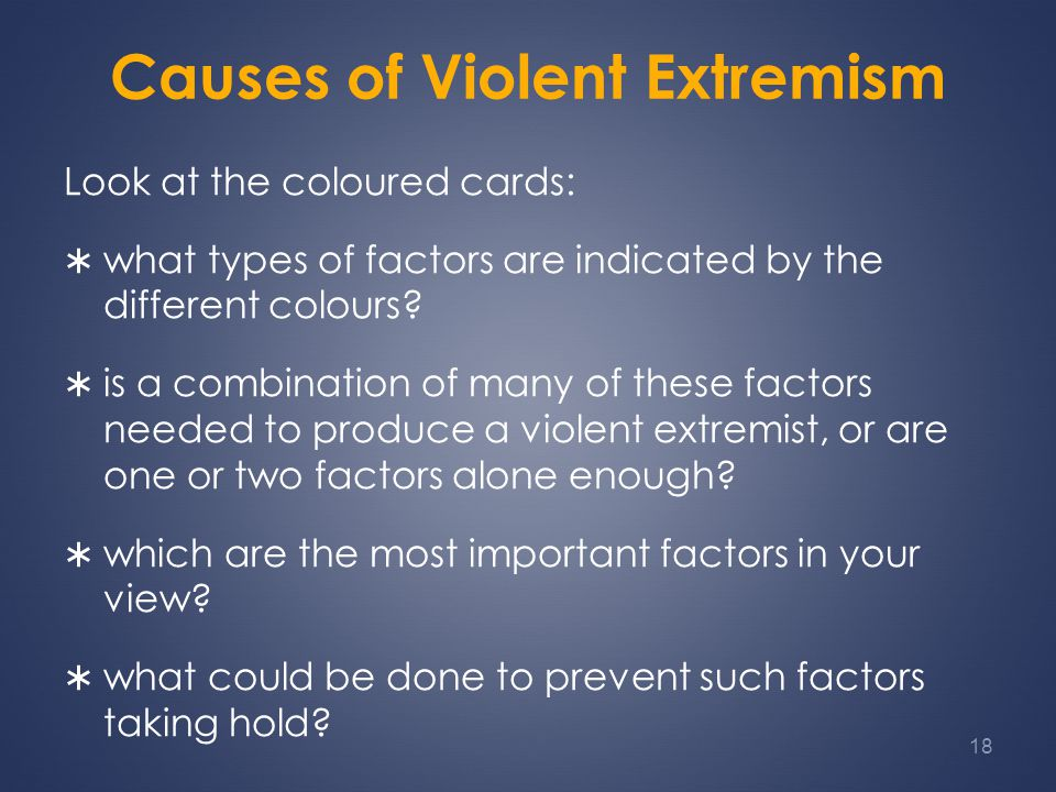 Causes of Violent Extremism Look at the coloured cards:  what types of factors are indicated by the different colours.