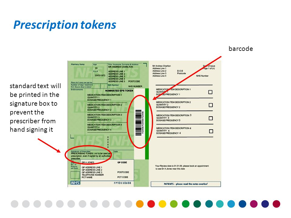 standard text will be printed in the signature box to prevent the prescriber from hand signing it Prescription tokens barcode