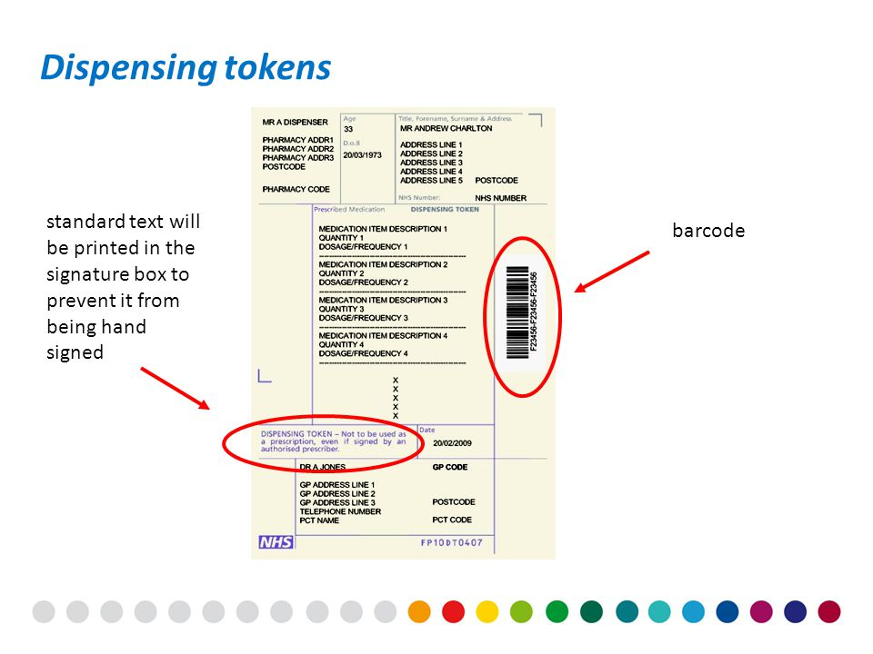 Dispensing tokens barcode standard text will be printed in the signature box to prevent it from being hand signed