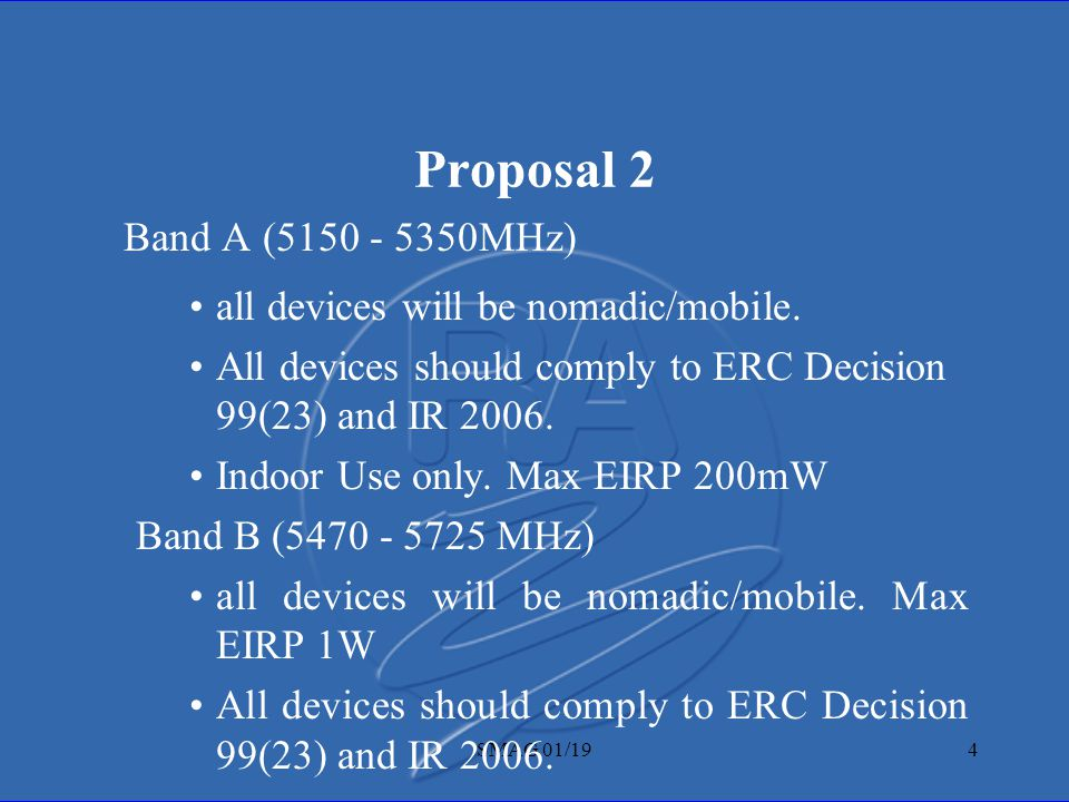 SMAG 01/194 Proposal 2 Band A (5150 - 5350MHz) all devices will be nomadic/mobile.