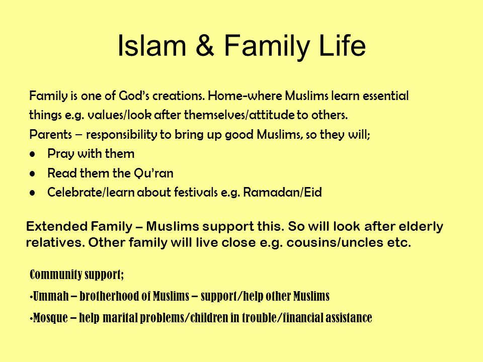 Islam & Family Life Family is one of God's creations.