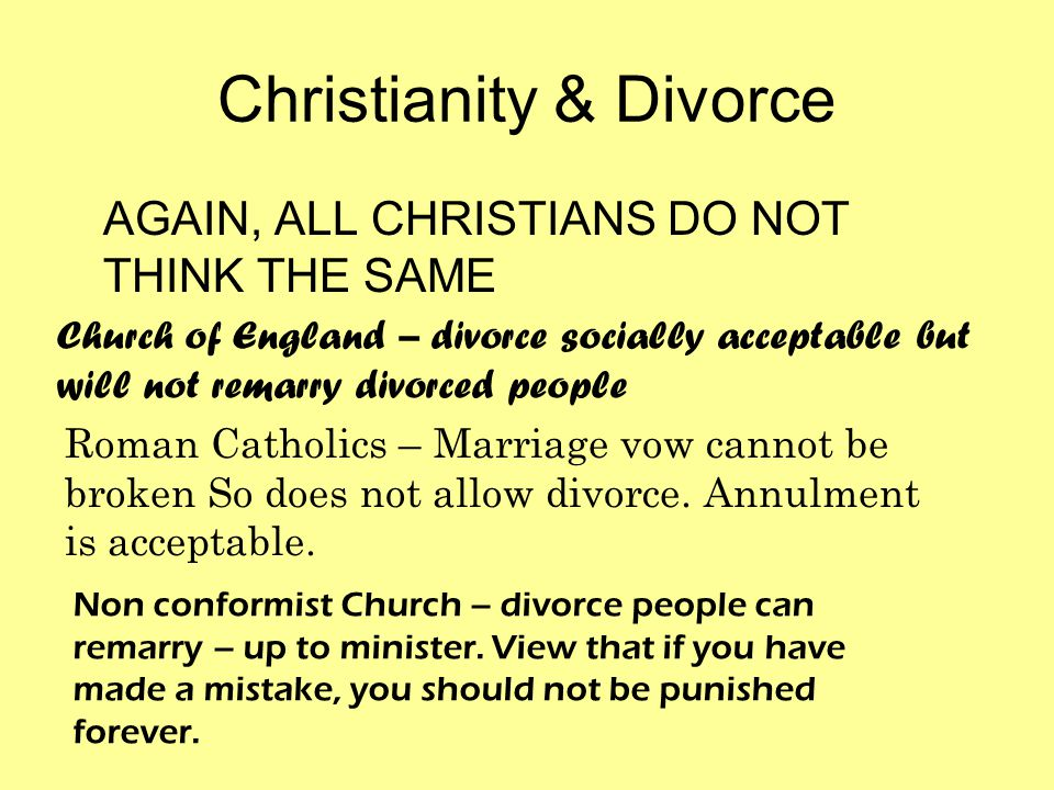 Christianity & Divorce AGAIN, ALL CHRISTIANS DO NOT THINK THE SAME Church of England – divorce socially acceptable but will not remarry divorced people Roman Catholics – Marriage vow cannot be broken So does not allow divorce.