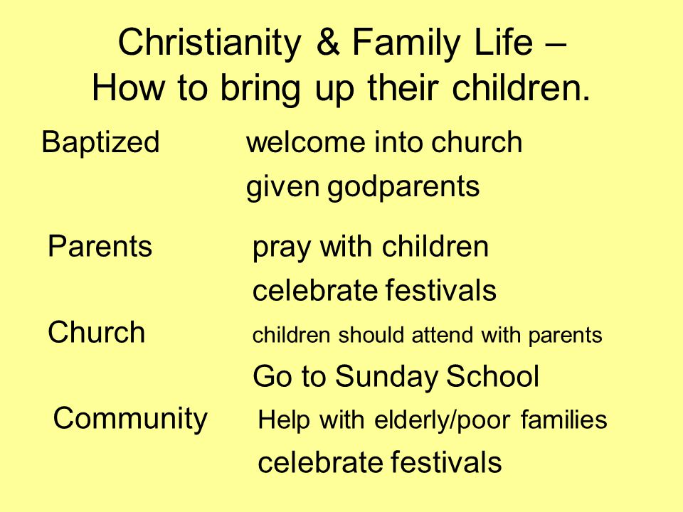 Christianity & Family Life – How to bring up their children.