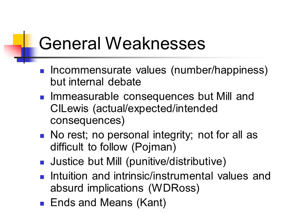 General Weaknesses Incommensurate values (number/happiness) but internal debate Immeasurable consequences but Mill and CILewis (actual/expected/intend