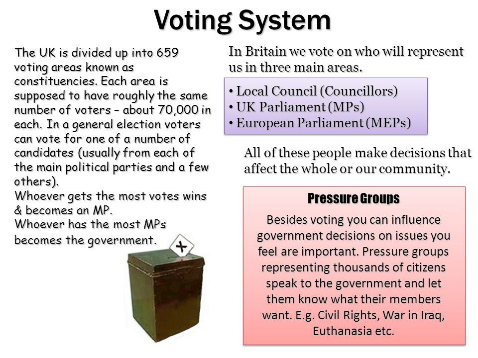 Voting System The UK is divided up into 659 voting areas known as constituencies.