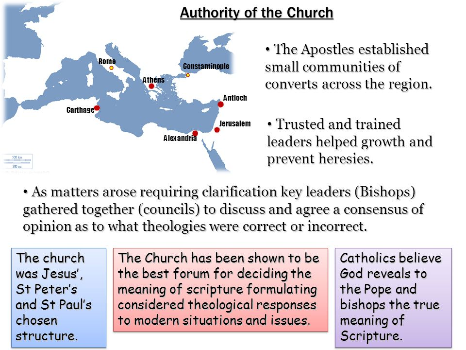 Rome Carthage Alexandria Athens Constantinople Antioch Jerusalem Authority of the Church The Apostles established small communities of converts across the region.