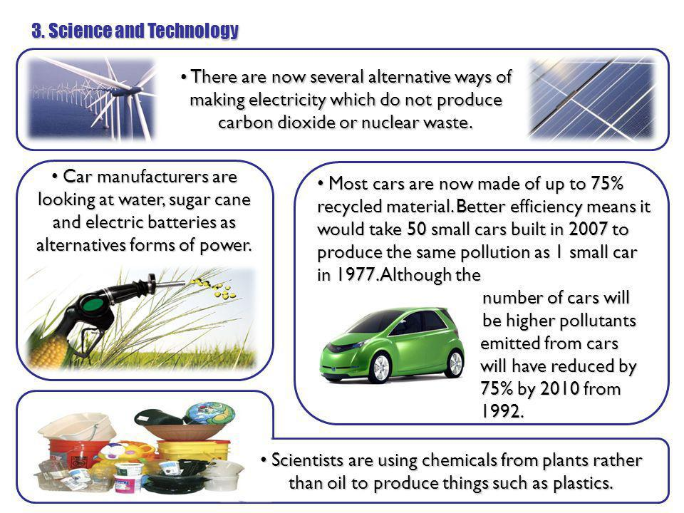 3. Science and Technology There are now several alternative ways of making electricity which do not produce carbon dioxide or nuclear waste. There are