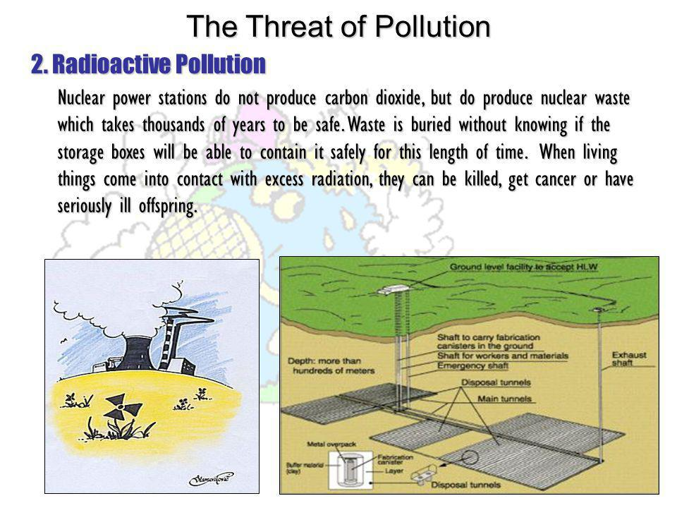 2. Radioactive Pollution Nuclear power stations do not produce carbon dioxide, but do produce nuclear waste which takes thousands of years to be safe.