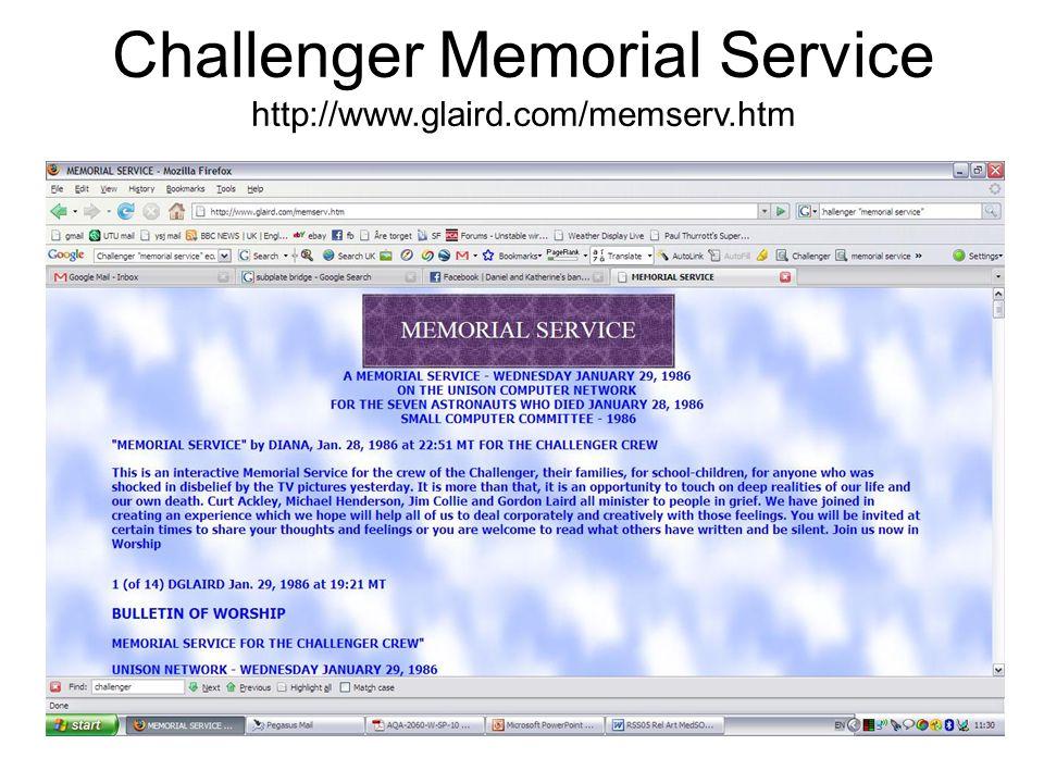 Challenger Memorial Service http://www.glaird.com/memserv.htm