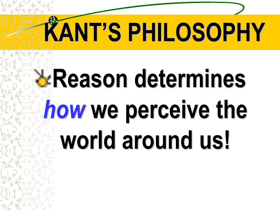Reason determines how we perceive the world around us!
