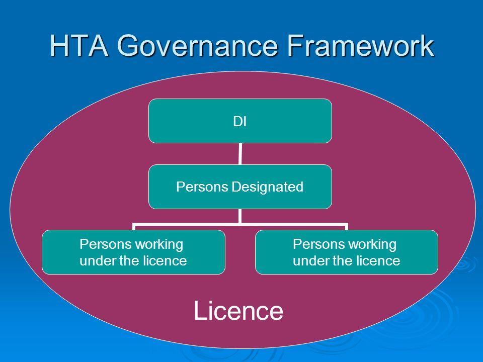 HTA Governance Framework DI Persons Designated Persons working under the licence Persons working under the licence Licence