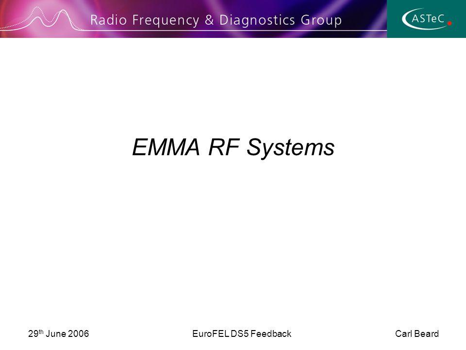 29 th June 2006EuroFEL DS5 Feedback Carl Beard EMMA RF Systems