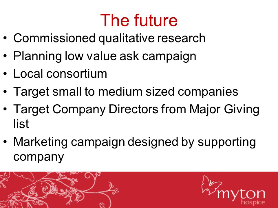 The future Commissioned qualitative research Planning low value ask campaign Local consortium Target small to medium sized companies Target Company Di