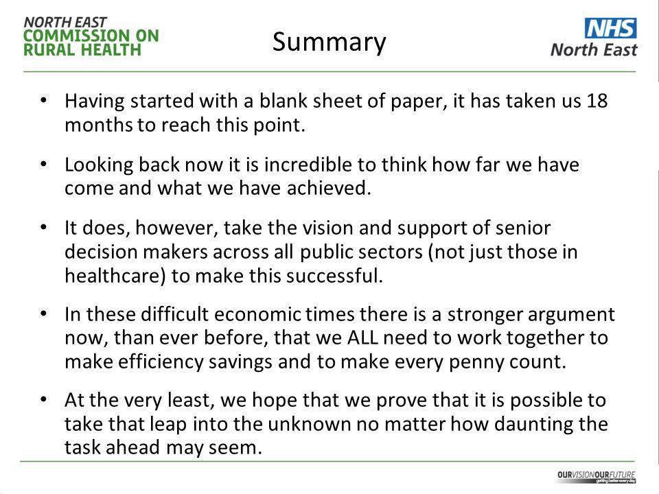 Summary Having started with a blank sheet of paper, it has taken us 18 months to reach this point.