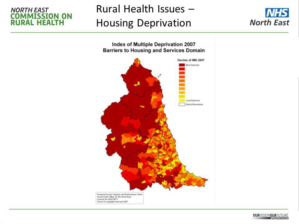 Context A summary of the findings of a report commissioned from the North East Public Health Observatory (NEPHO) in October 2009 are as follows: – Healthcare outcomes are a mixed picture but often worse for rural areas.