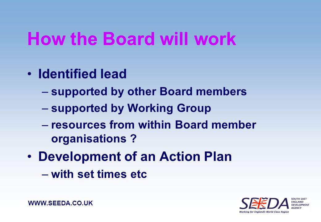WWW.SEEDA.CO.UK Influencing new architecture Together we have a lot to offer Rich source of intelligence across a broad agenda We can help advise on high level strategies Knowledge of what is happening in the rural economy Local authority experience of mainstream activity We can do testing of ideas