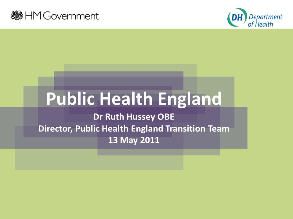 Click to edit Master title style Click to edit Master subtitle style Public Health England Dr Ruth Hussey OBE Director, Public Health England Transition Team 13 May 2011