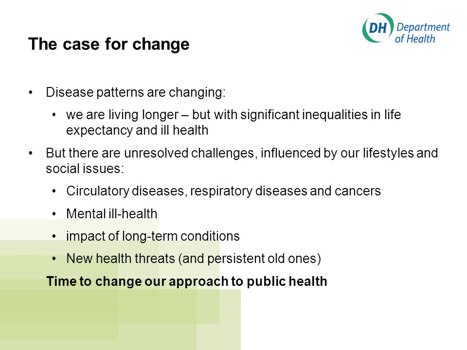 The case for change Disease patterns are changing: we are living longer – but with significant inequalities in life expectancy and ill health But there are unresolved challenges, influenced by our lifestyles and social issues: Circulatory diseases, respiratory diseases and cancers Mental ill-health impact of long-term conditions New health threats (and persistent old ones) Time to change our approach to public health