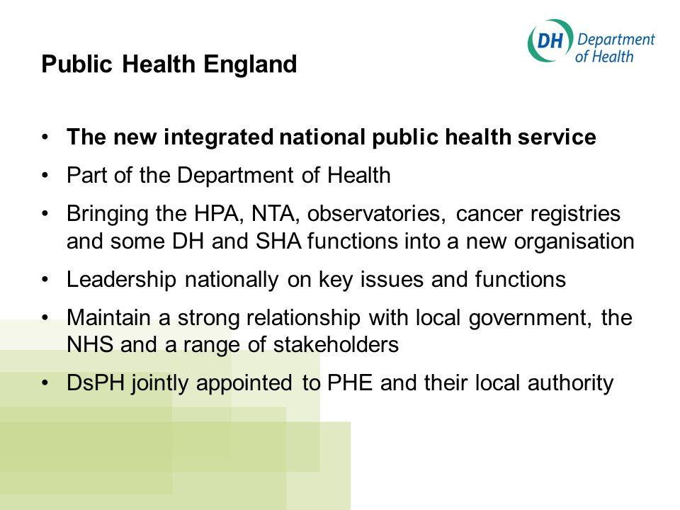 Public Health England The new integrated national public health service Part of the Department of Health Bringing the HPA, NTA, observatories, cancer registries and some DH and SHA functions into a new organisation Leadership nationally on key issues and functions Maintain a strong relationship with local government, the NHS and a range of stakeholders DsPH jointly appointed to PHE and their local authority