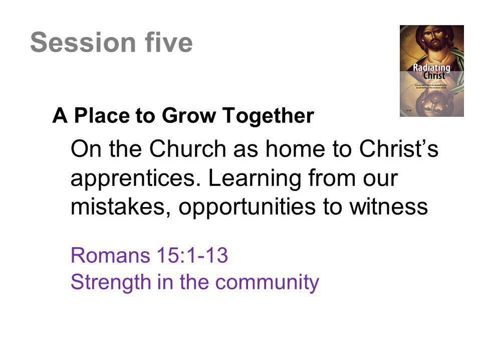 A Place to Grow Together On the Church as home to Christ's apprentices. Learning from our mistakes, opportunities to witness Romans 15:1-13 Strength i