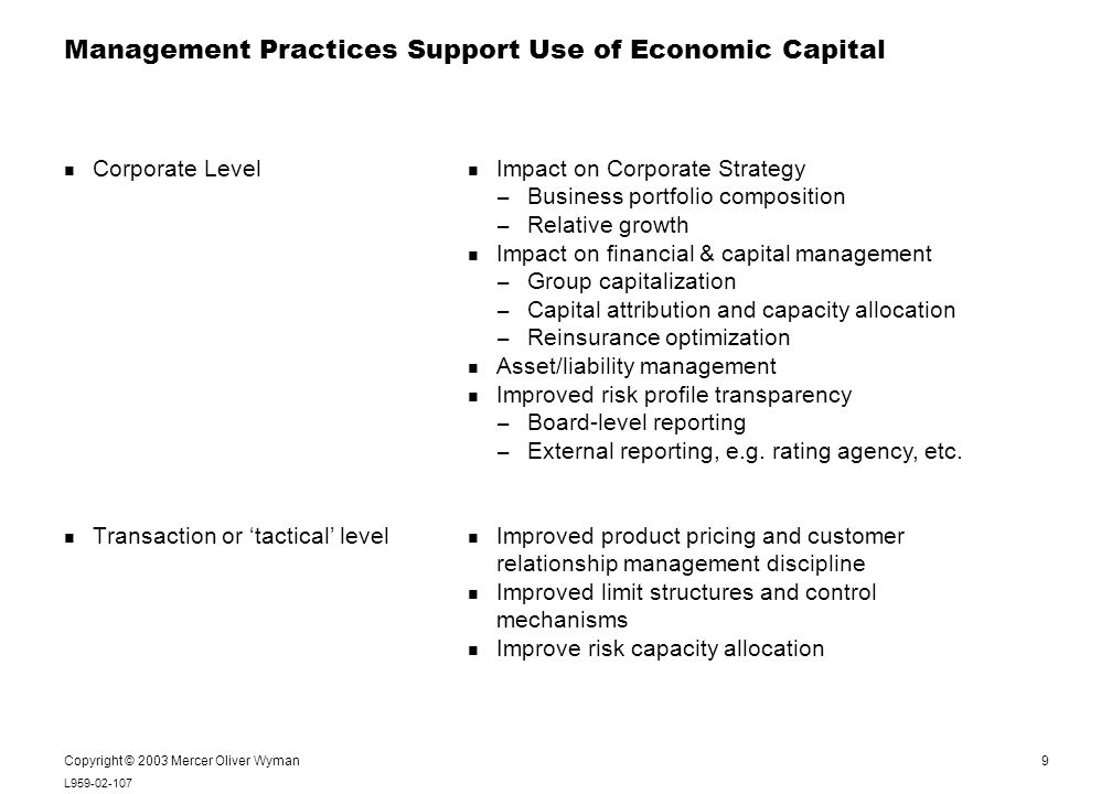 9 L959-02-107 Notes: Copyright © 2003 Mercer Oliver Wyman Management Practices Support Use of Economic Capital Bulleted text always starts at the same