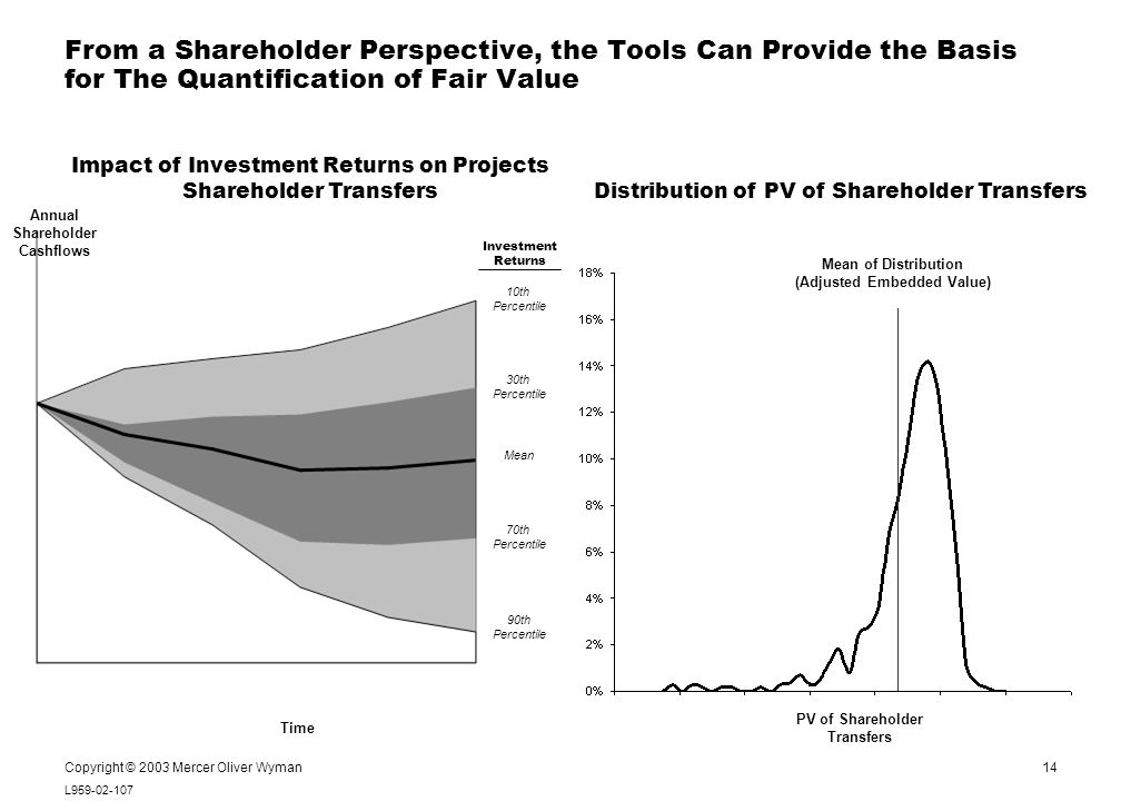 14 L959-02-107 Notes: Copyright © 2003 Mercer Oliver Wyman Impact of Investment Returns on Projects Shareholder Transfers 10th Percentile 30th Percentile 70th Percentile 90th Percentile Mean Annual Shareholder Cashflows Investment Returns From a Shareholder Perspective, the Tools Can Provide the Basis for The Quantification of Fair Value Distribution of PV of Shareholder Transfers PV of Shareholder Transfers Mean of Distribution (Adjusted Embedded Value) Time