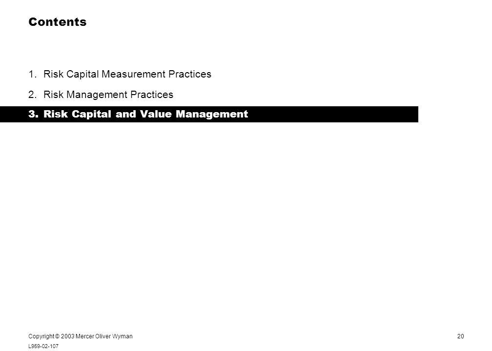 20 L959-02-107 Notes: Copyright © 2003 Mercer Oliver Wyman Contents 1.Risk Capital Measurement Practices 2.Risk Management Practices 3.Risk Capital an