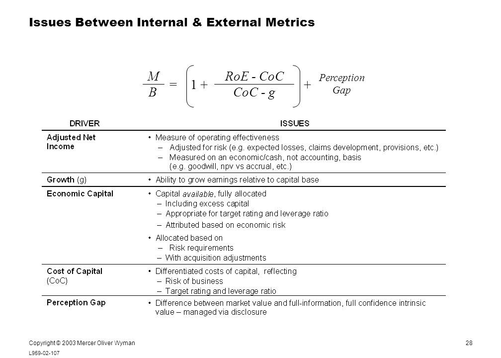 28 L959-02-107 Notes: Copyright © 2003 Mercer Oliver Wyman Issues Between Internal & External Metrics Perception Gap MBMB RoE - CoC CoC - g 1 ++=