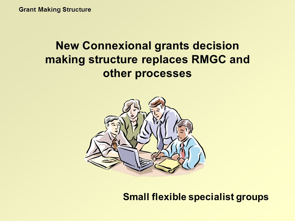 New Connexional grants decision making structure replaces RMGC and other processes Grant Making Structure Small flexible specialist groups
