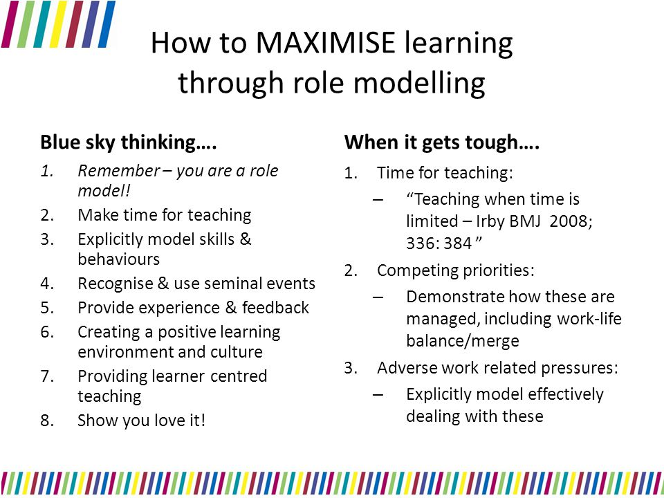 How to MAXIMISE learning through role modelling Blue sky thinking….