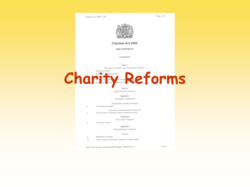 Charity Reforms