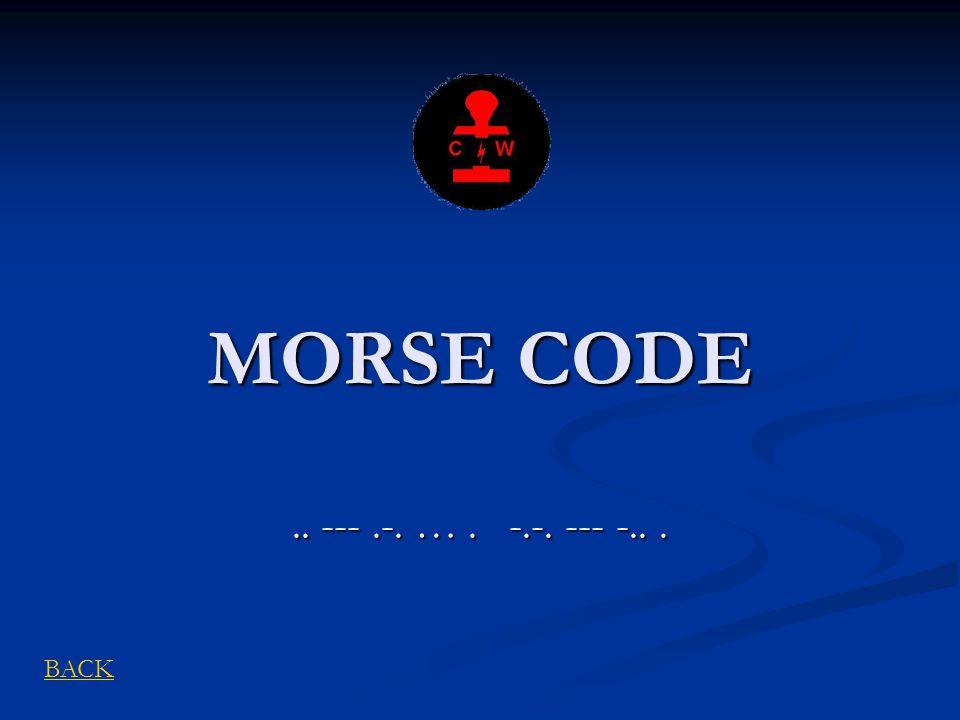 MORSE CODE.. ---.-. …. -.-. --- -... BACK
