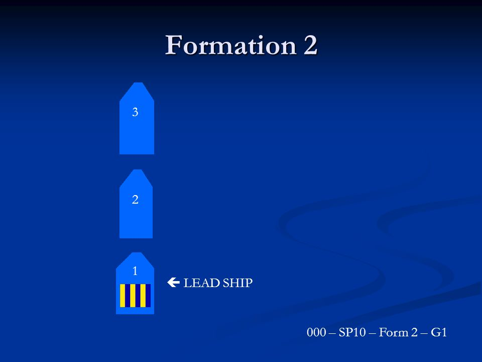 Formation 2 1 2 3  LEAD SHIP 000 – SP10 – Form 2 – G1
