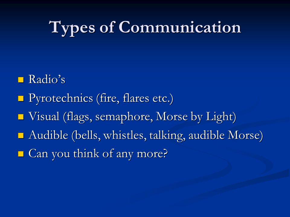 Types of Communication Radio's Radio's Pyrotechnics (fire, flares etc.) Pyrotechnics (fire, flares etc.) Visual (flags, semaphore, Morse by Light) Vis