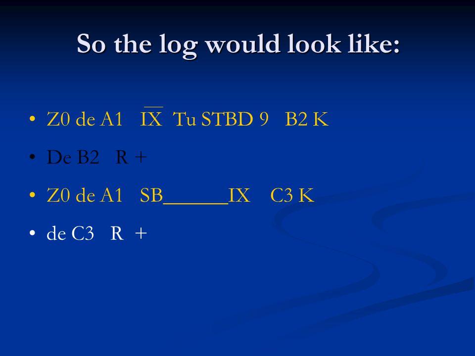 So the log would look like: Z0 de A1 IX Tu STBD 9 B2 K De B2 R + Z0 de A1 SB______IX C3 K de C3 R +