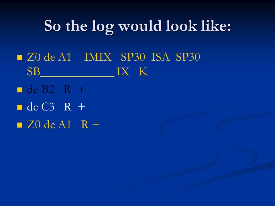 So the log would look like: Z0 de A1 IMIX SP30 ISA SP30 SB____________ IX K de B2 R + de C3 R + Z0 de A1 R +