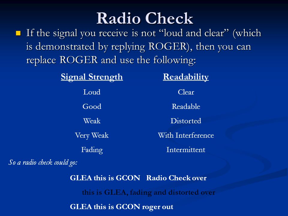 """Radio Check If the signal you receive is not """"loud and clear"""" (which is demonstrated by replying ROGER), then you can replace ROGER and use the follow"""