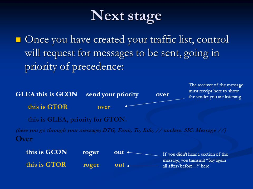 Next stage Once you have created your traffic list, control will request for messages to be sent, going in priority of precedence: Once you have creat