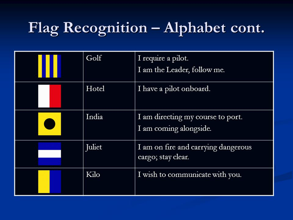 Flag Recognition – Alphabet cont. Golf I require a pilot. I am the Leader, follow me. Hotel I have a pilot onboard. India I am directing my course to